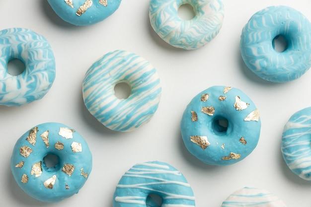 Blue monday arrangement with doughnuts