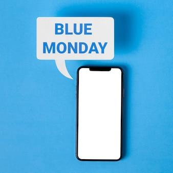 Синий понедельник со смартфоном и пузырем чата