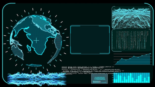 Blue monitor digital global world map and technology research development analysis software