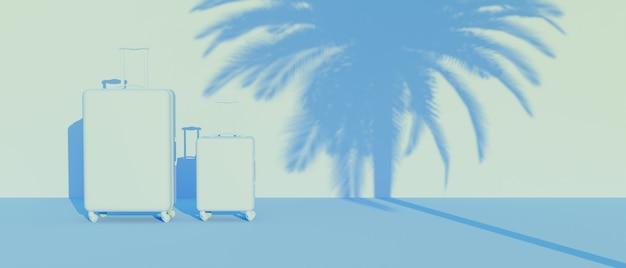 두 개의 가방과 벽에 야자수 그림자와 함께 파란색 단색 장면. 3d 렌더링