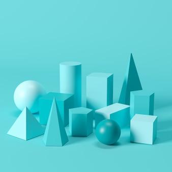 Blue monotone geometric shapes set on blue background. minimal concept idea