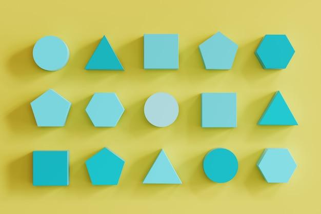 Blue monotone geometric shapes on yellow background. minimal flat lay contept