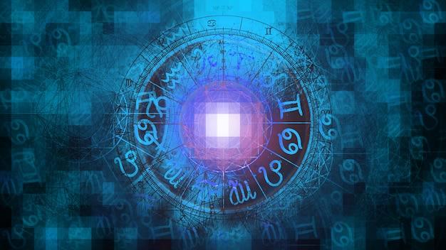 Голубая мозаика астрология гороскоп узор текстуры фона, графический дизайн