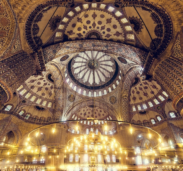 Blue mosque interior. also know as the sultan ahmed mosquei n istanbul, turkey