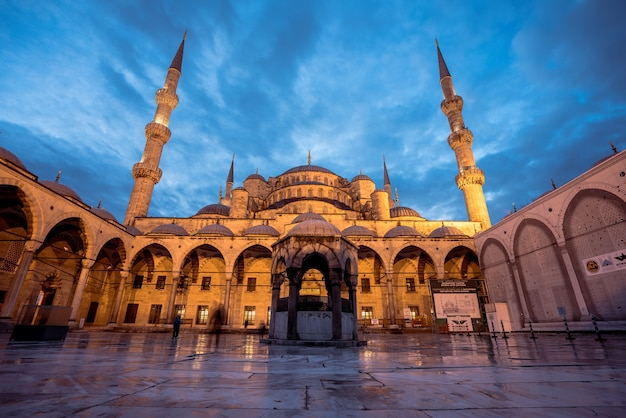 The blue mosque is an historical mosque in istanbul, turkey