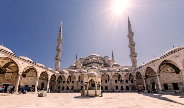 Blue mosque minarets in istanbul