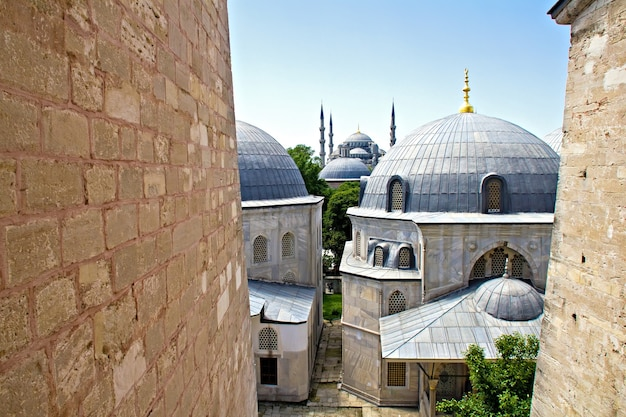 The blue mosque seen from the upper floor of hagia sophia