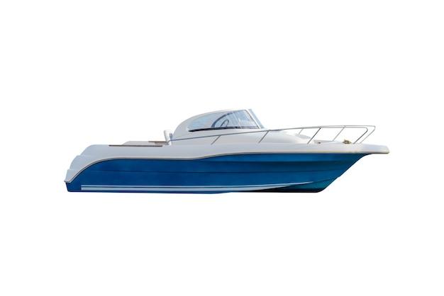 白で隔離の青いモーターボート