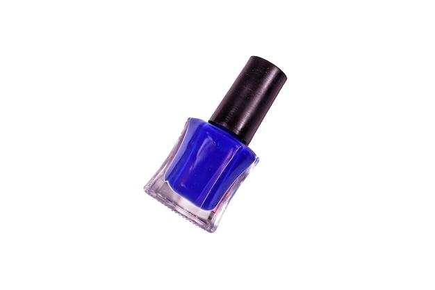 Синий лак для ногтей, изолированные на белом фоне