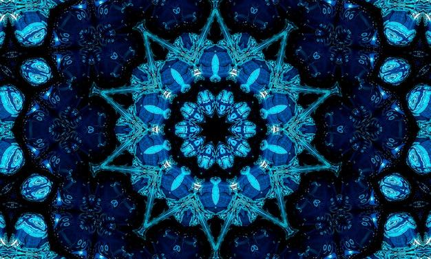 Синий фон абстрактный узор калейдоскоп военно-морского флота. образец круга. абстрактный фон фрактальной калейдоскоп. абстрактный узор фрактальной геометрический симметричный орнамент. калейдоскоп синий узор.