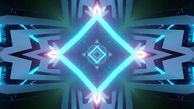 背景に明るい対称パターンを持つ3dイラストとして青いネオンの輝く菱形のトンネル