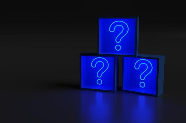 Синий неоновый свет в форме вопросительного знака в коробках.