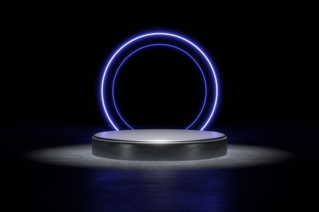 Blue neon light product background stage or podium pedestal on grunge street floor with glow spot