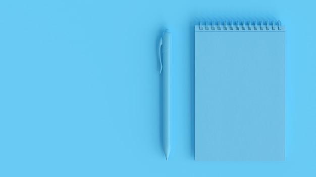 Синий блокнот и ручка. концепция минимальной идеи, 3d визуализация.