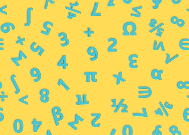 青い数字と数学記号。シームレスなパターン。