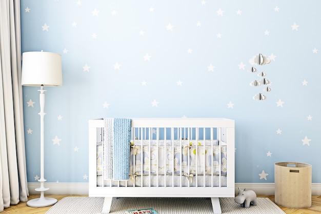 Blue nursery room background and crib
