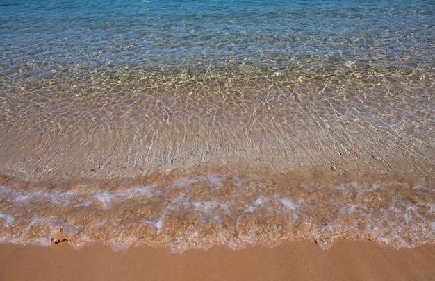 日没の夏の砂浜のビーチの青い海の波ビーチの風景熱帯の海の景色は穏やかです...
