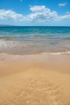 Blue ocean wave on sandy beach beach in sunset summer time beach landscape tropical seascape calmnes...