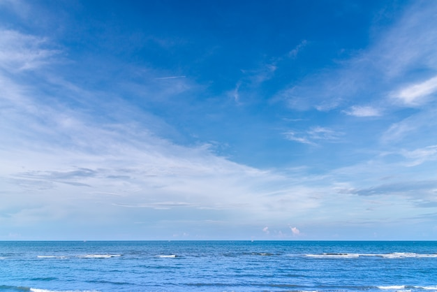 Blue ocean with blue sky summer background