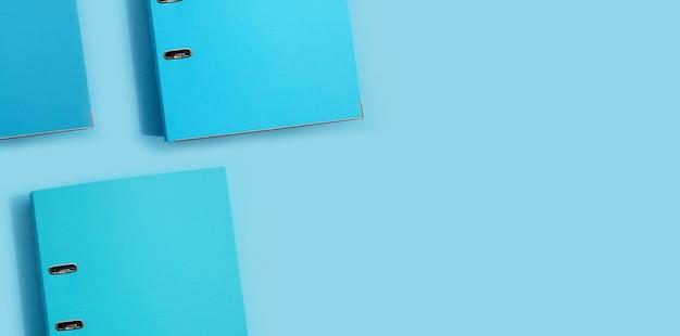 Blue office folders. top view