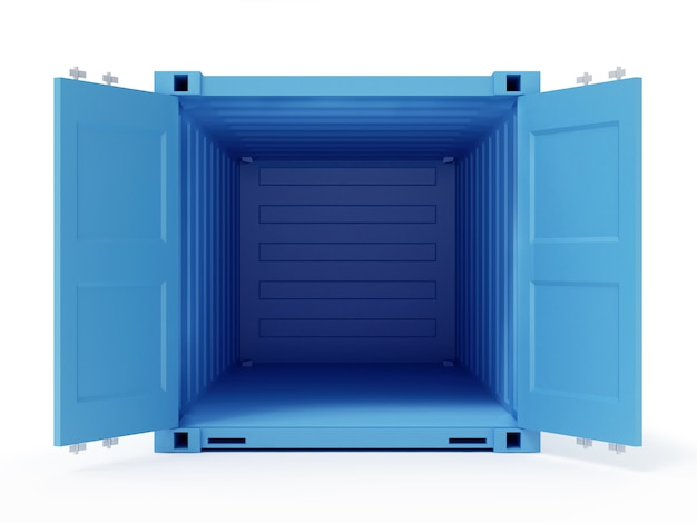 Blue opened cargo container isolated on white background. 3d rendering