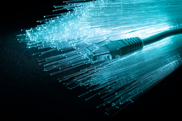 Blue optic fiber with ethernet cable