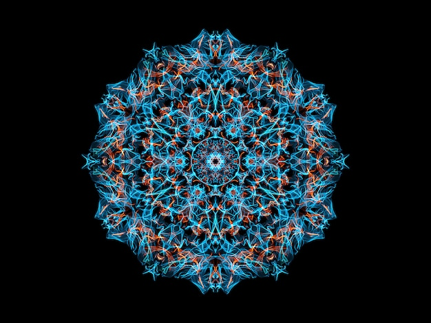 Blue and orange abstract flame mandala flower, ornamental floral round pattern