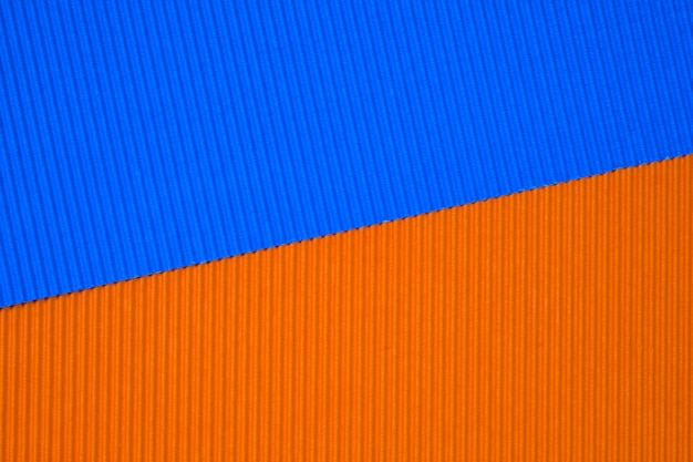 Blue and orange corrugated papers
