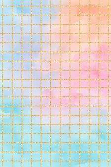 Blue orange pink teal pastel grid watercolor background