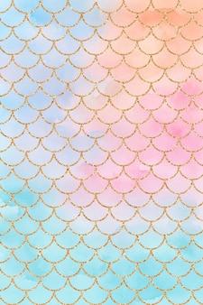 Blue orange pink teal pastel mermaid watercolor background