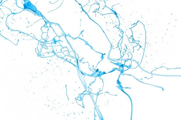 Всплеск синей краской на белом фоне