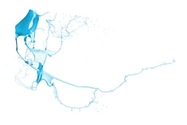 白い背景に分離された青いペンキのスプラッシュ