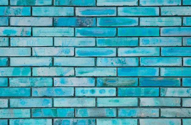 Blue painted brick wall texture