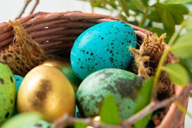 Blue painted eggs close up for easter