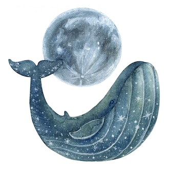 Blue painted whale with stars and moon.