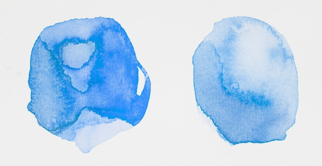 Blue paints in form of circles on white paper