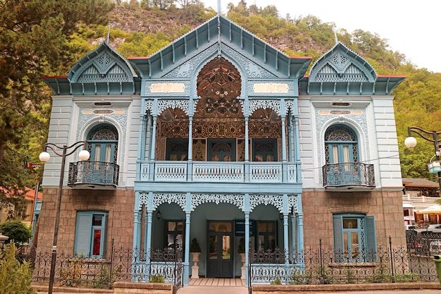 The blue palace firuza a remarkable cultural heritage monument in the town of borjomi georgia