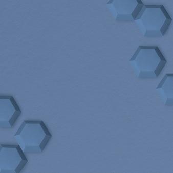 파란색 종이 공예 육각형 무늬 템플릿