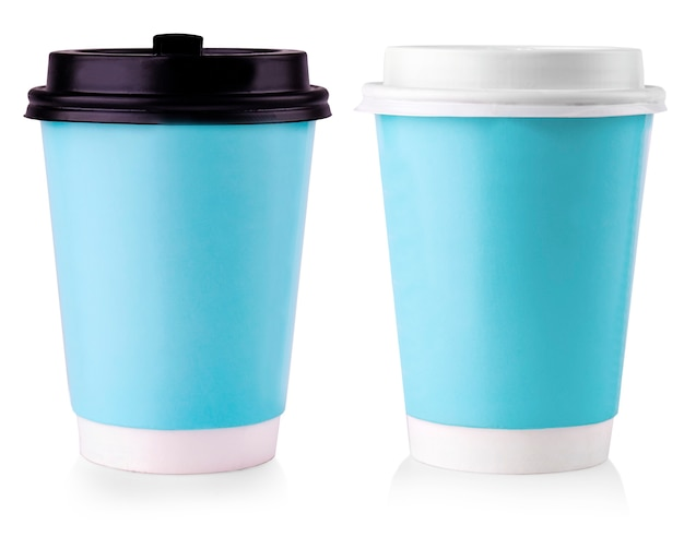 The blue paper cup with black lid isolated on white background.