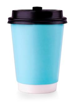 黒いふたが付いている青い紙コップ