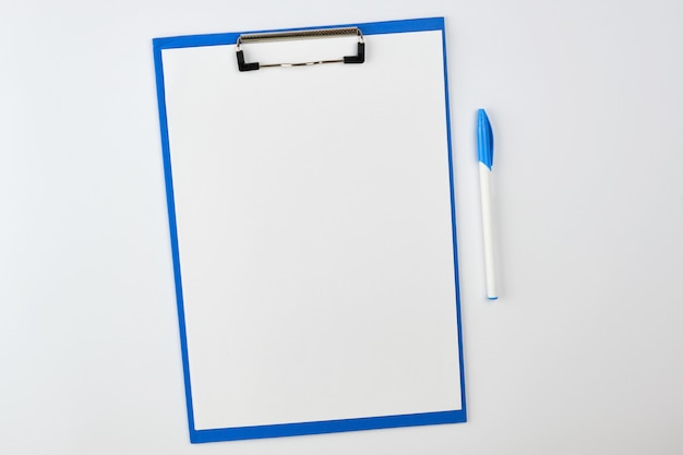 Blue paper holder with copyspace