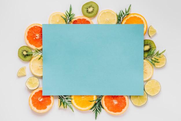 Blue paper sheet of fruits
