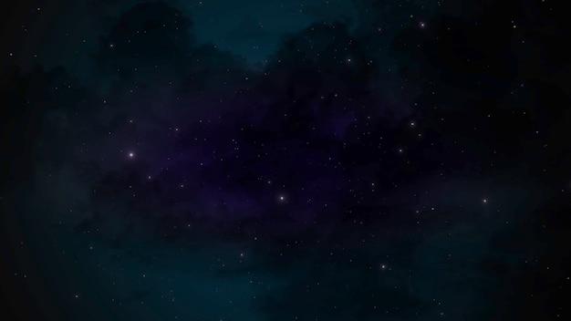 銀河系の青い粒子と星、抽象的な背景。コスモスのためのエレガントで豪華なスタイルの3dイラスト