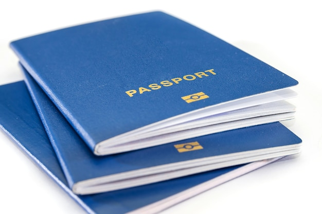 Blue passports isolated. close-up.