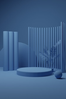 Blue pastel podium scene for product presentation