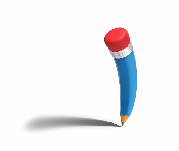 흰색 절연 그림자와 파란 연필