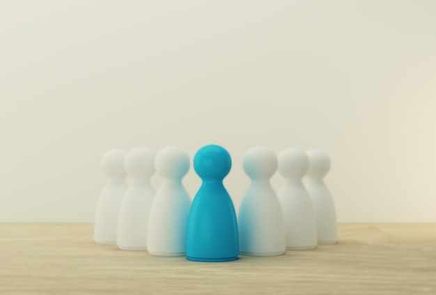 Blue people model outstanding out from the crowd. human resource, talent management, recruitment employee, successful business team leader concept.