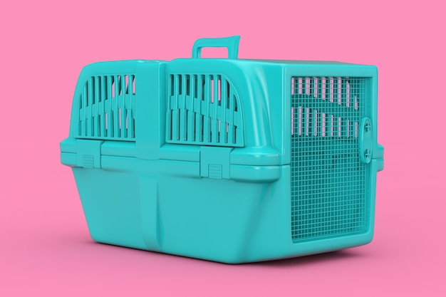 Blue pet travel plastic cage carrier box mock up duotone on a pink background. 3d rendering