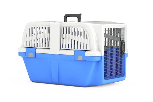 흰색 바탕에 파란색 애완 동물 여행 플라스틱 케이지 캐리어 상자. 3d 렌더링