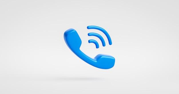 서비스 지원 핫라인 개념을 사용하여 클래식 통신 전화 흰색 배경에 격리된 파란색 전화 아이콘 또는 연락처 웹사이트 모바일 기호입니다. 3d 렌더링.